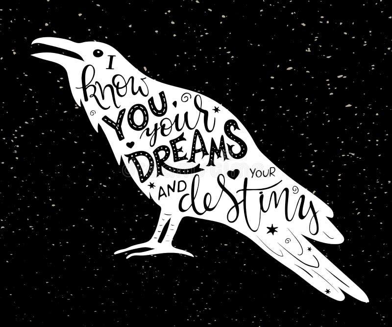Vector poner letras dibujado mano inscrito en silueta del cuervo en fondo del grunge libre illustration