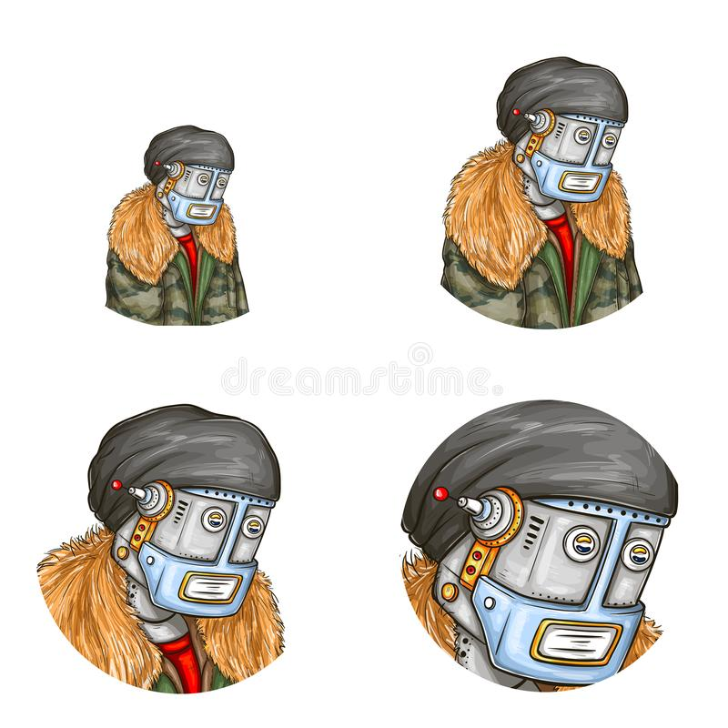 Vector pop art avatar of robot, android. In fashion jacket. Element for chat, blog with metal cyborg in modern clothing, cap with antenna. Artificial stock illustration