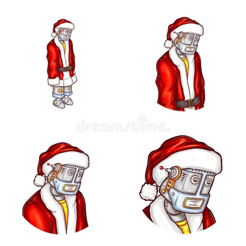 Vector pop art avatar of Christmas robot stock illustration