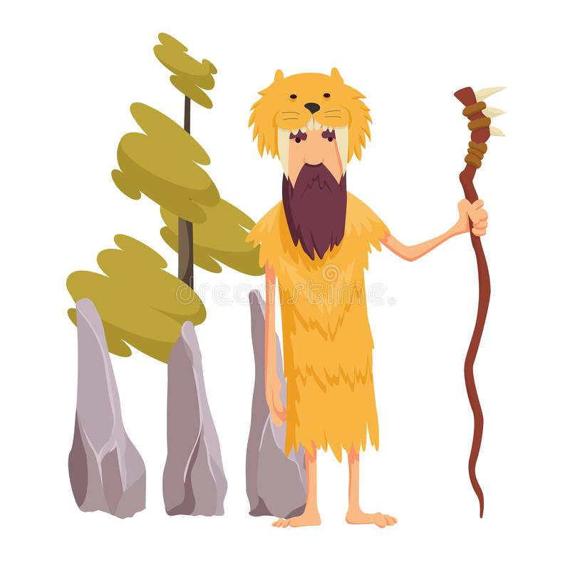 Vector pop art caveman in fur animal skin and wooden stick. Male character of prehistoric, stone age. Illustration for. Ad poster, promo banner vector illustration