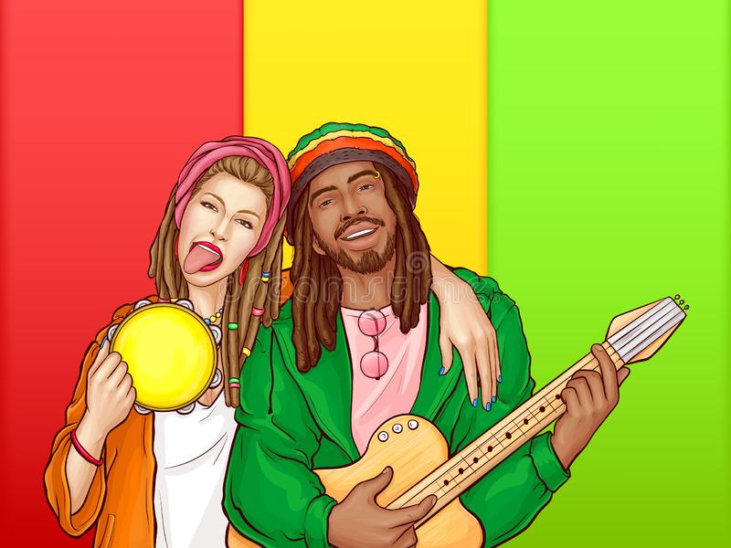 Vector pop art rastafarian couple - man, woman vector illustration