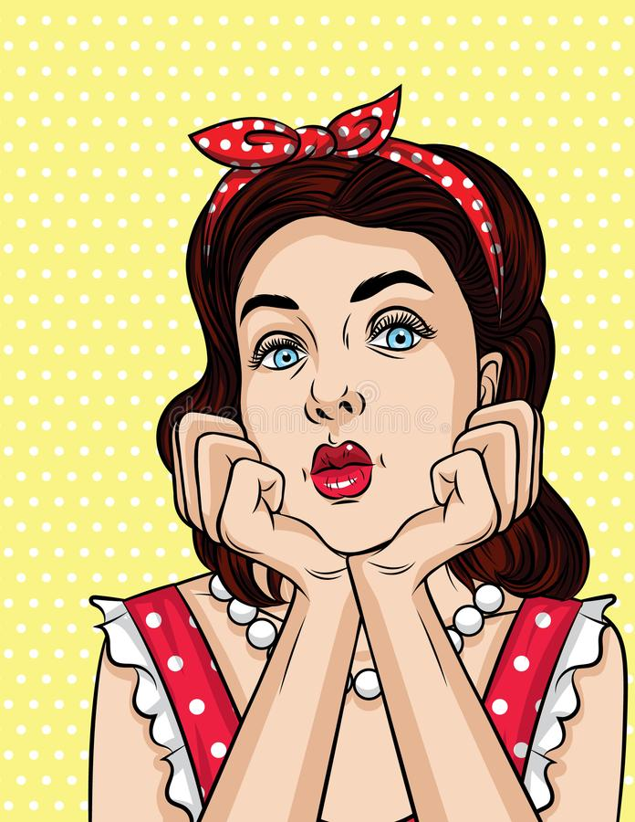 Vector pop art comic style illustration of a beautiful young woman is dreaming. Retro style girl looks boring vector illustration