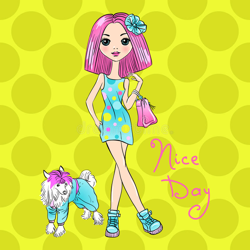 Vector Pop Art cute fashion girl with dog royalty free stock photography