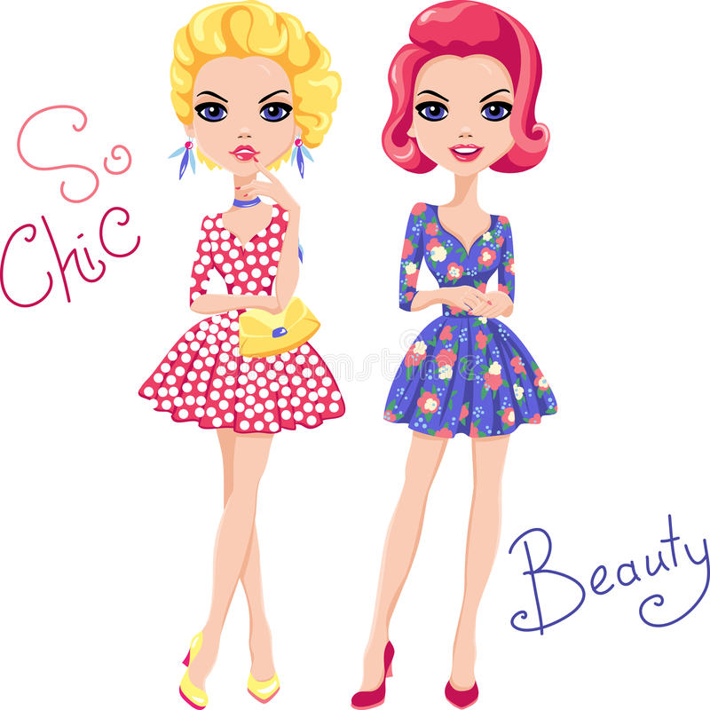 Vector Pop Art cute fashion girls stock photography