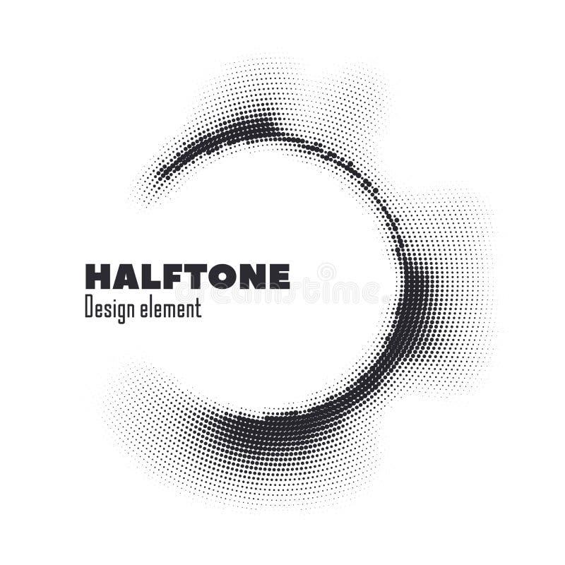 Vector pop art halftone logo circle design stock illustration