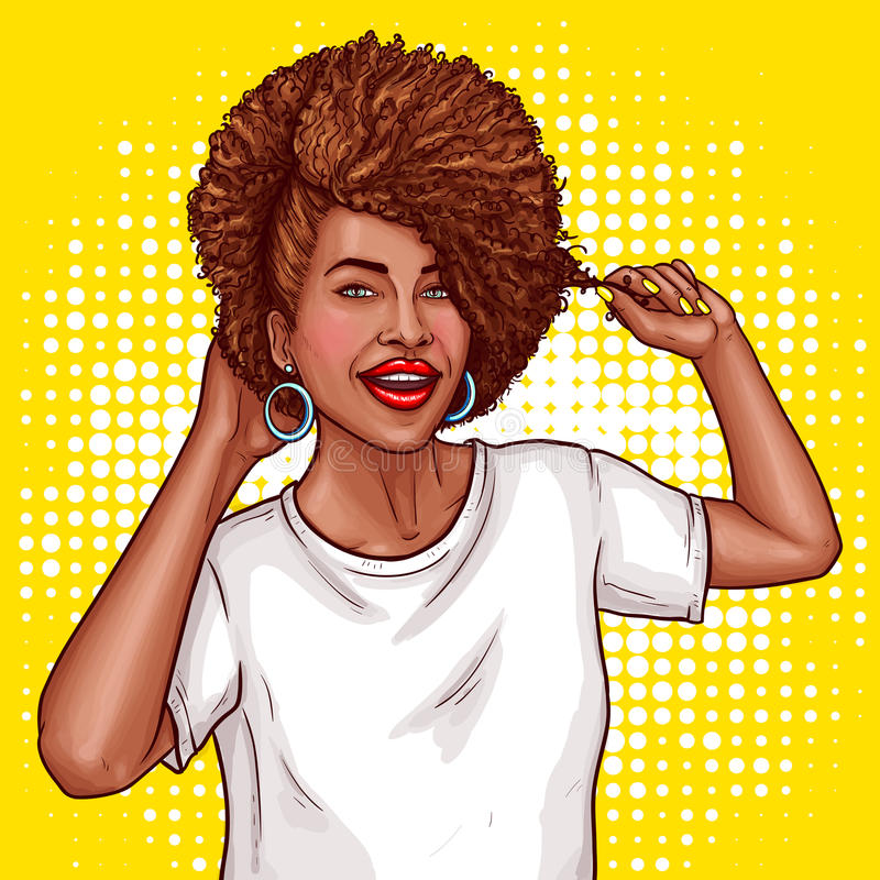 Vector pop art illustration of a black woman touches her hair. royalty free illustration