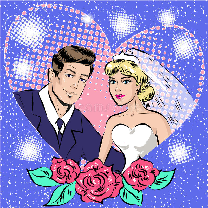 Vector Pop Art Illustration Of Bride And Groom Stock Vector ...