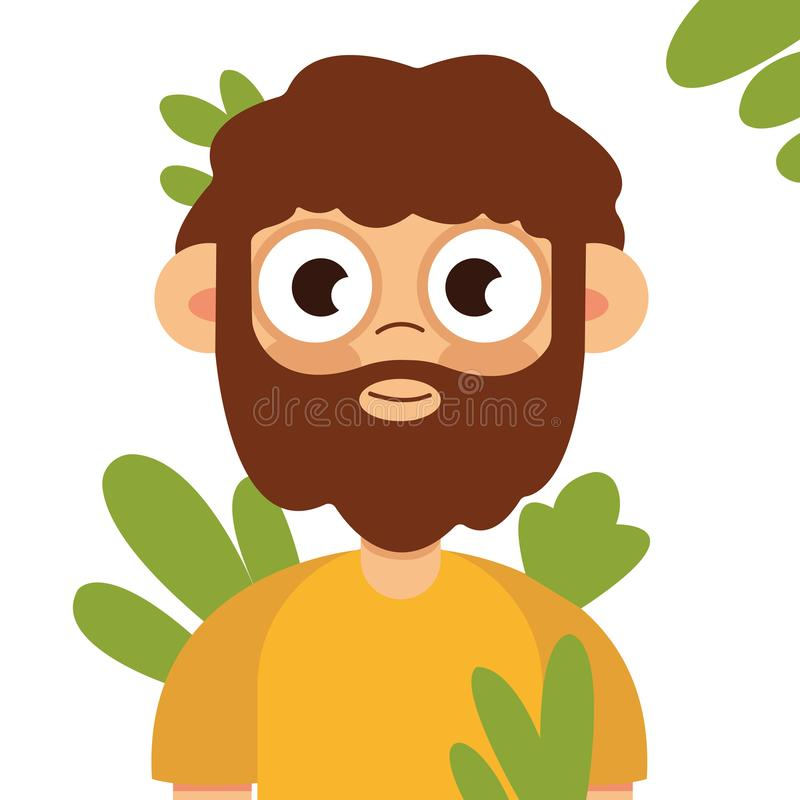Vector pop art illustration of a brutal bearded man, macho royalty free illustration