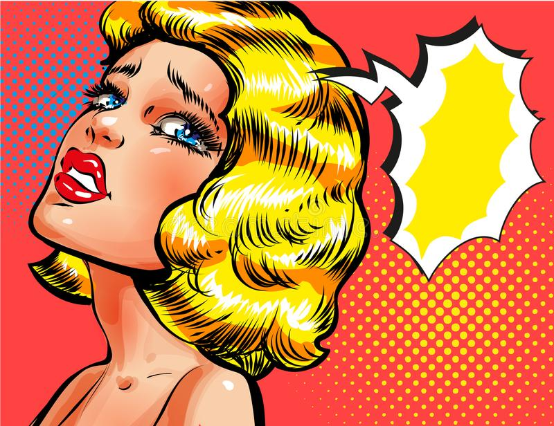 Vector pop art illustration of sad thinking woman. Vector illustration of beautiful girl thinking about something, thought bubble. Sad woman portrait in retro vector illustration