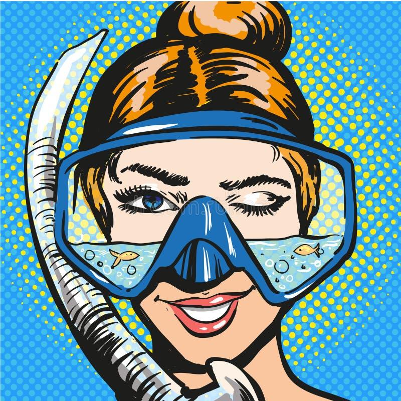 Vector pop art illustration of woman in scuba diving equipment. Vector illustration of smiling and winking young woman in scuba diving equipment. Diver female in royalty free illustration
