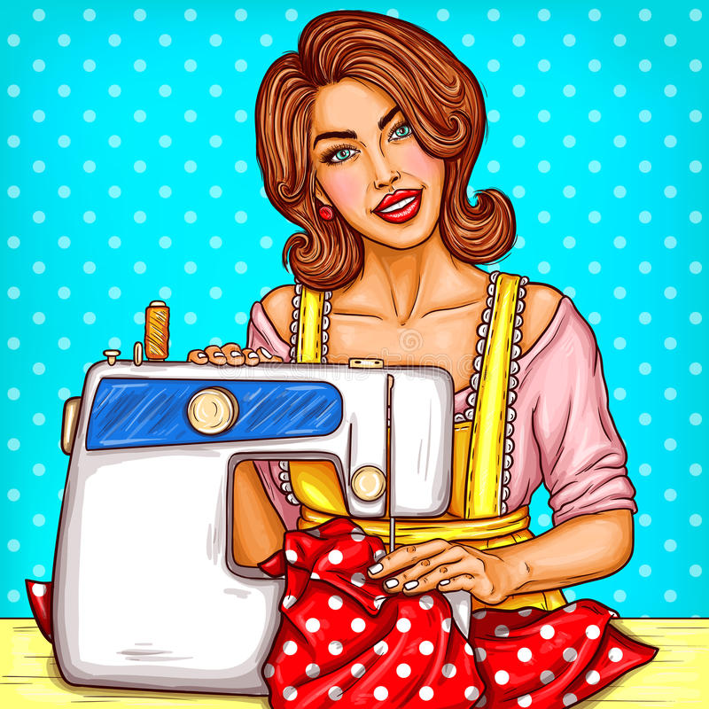 Vector pop art illustration of a young woman dressmaker sewing on a sewing machine royalty free illustration