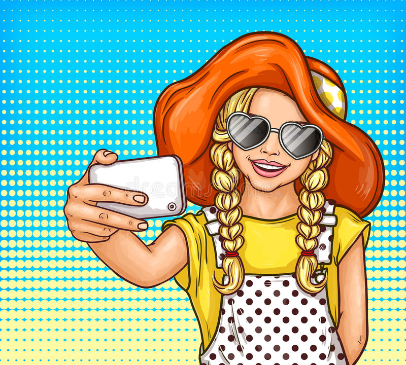 Vector pop art little girl in sunglasses and vintage hat makes selfie stock illustration