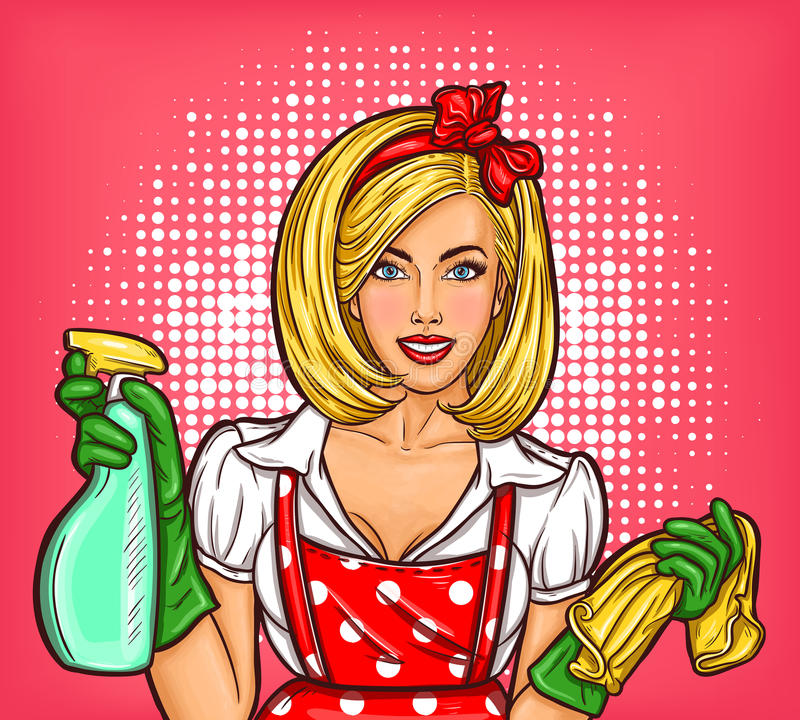Vector pop art poster advertising a cleaning service with a housewife in the foreground stock illustration
