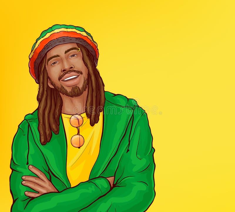 Vector pop art rastafarian with dreadlocks, beard vector illustration