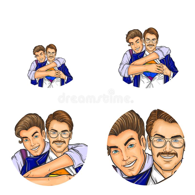 Vector pop art social network user avatars of gay men couple embracing and unbutton shirt. Retro sketch profile icons vector illustration