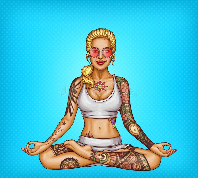Vector pop art tattooed girl doing yoga royalty free illustration
