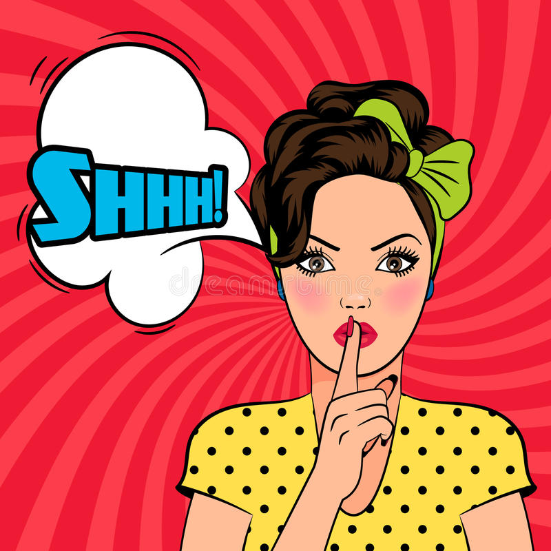 Free Vector Pop Art Woman Asking For Silence Royalty Free Stock Photo - 64902405