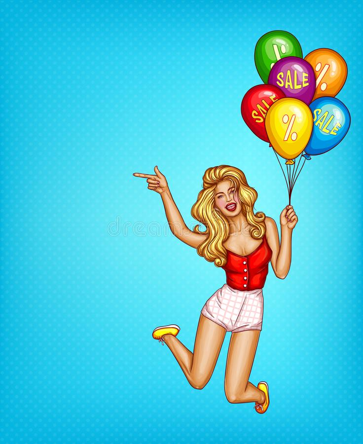 Vector pop art woman, balloons with sale stock illustration