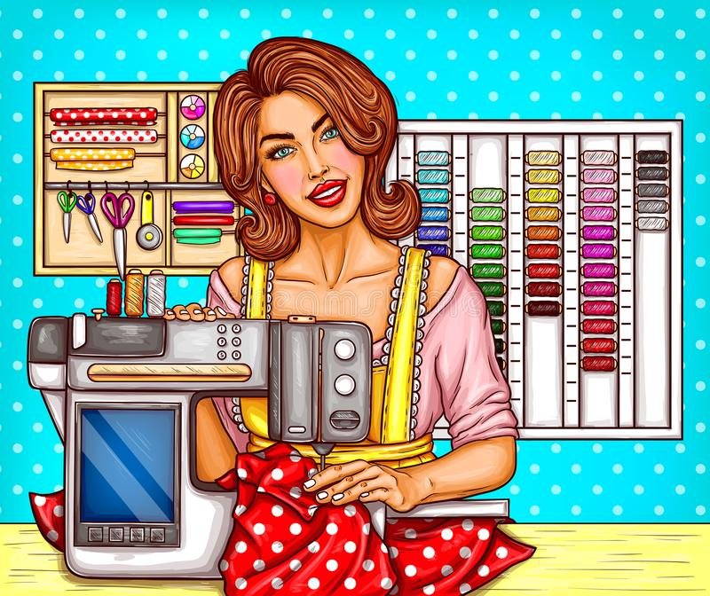 Vector pop art woman tailor sews on a modern sewing-machine with display. Seamstress, dressmaker, atelier illustration. stock illustration