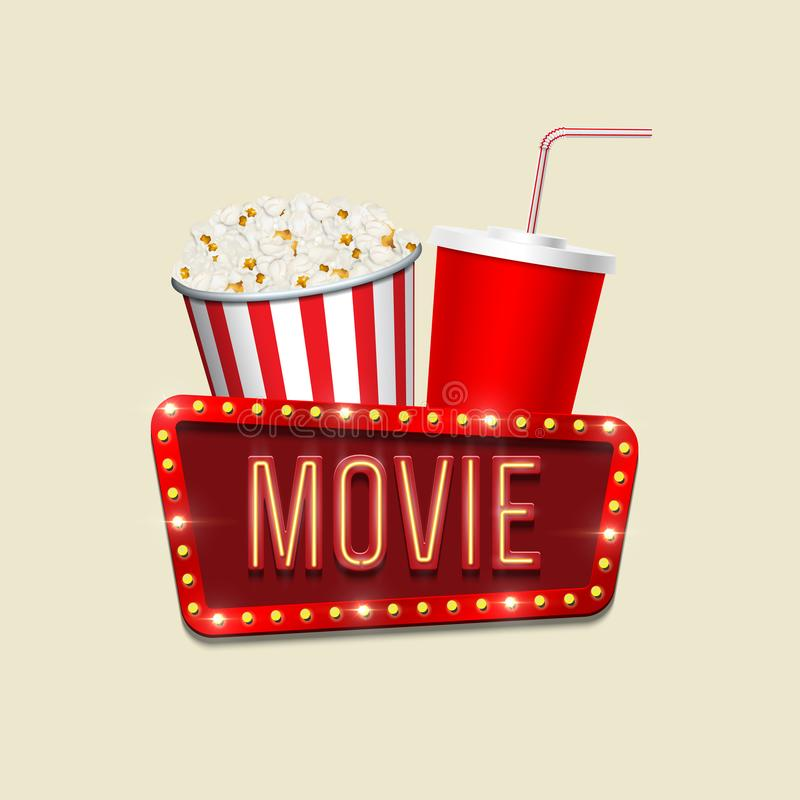 Vector pop corn basket, red cola cup and movie sign on light background. Cinema banner template. royalty free illustration