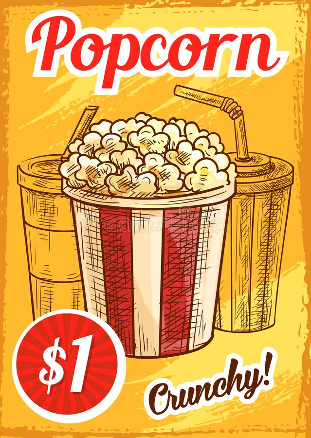 Vector popcorn menu sketch cinema cafe poster. Popcorn price menu sketch poster for cinema bar or bistro. Vector design of crunchy caramel popcorn basket with stock illustration