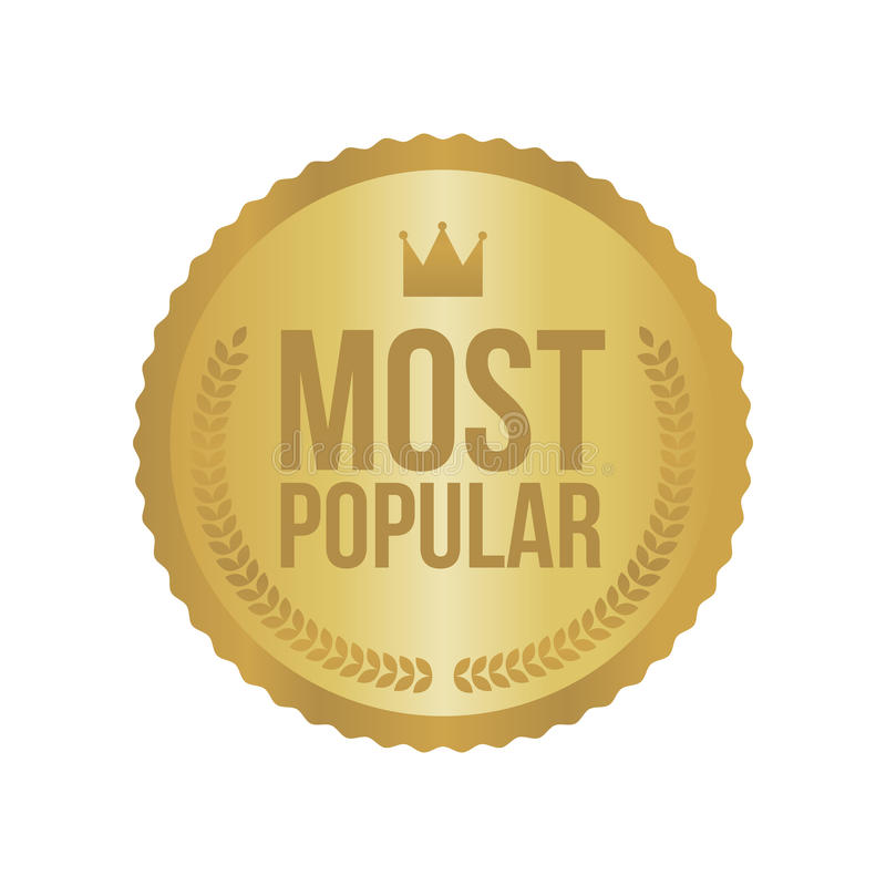 Vector Populairste Gouden Teken, Rond Etiket stock illustratie
