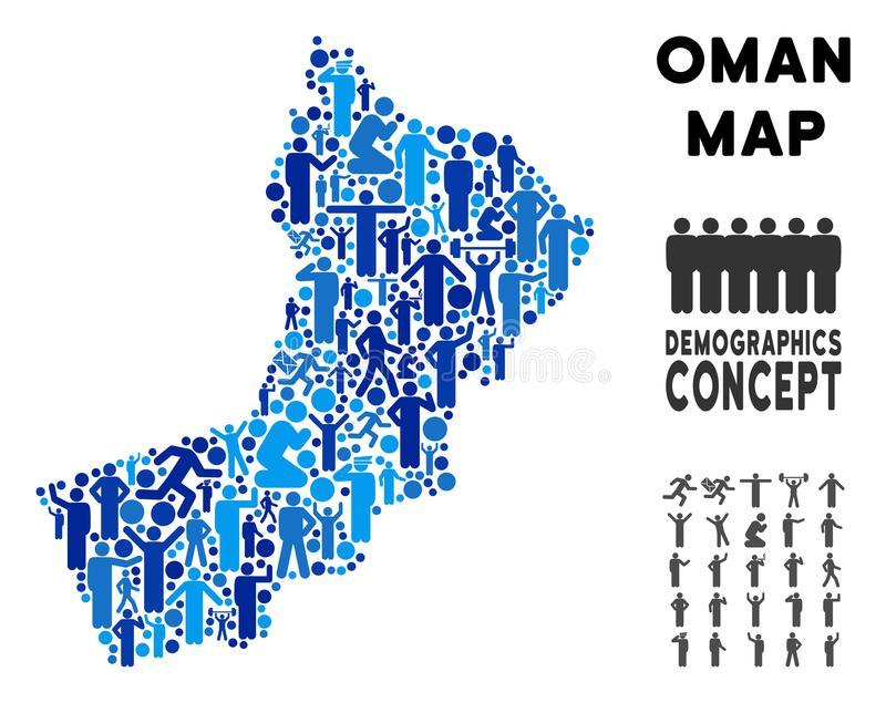 People Oman Map. Vector population Oman map. Demography composition of Oman map done of humans with variable poses. Demographic map in blue tints. Abstract vector illustration