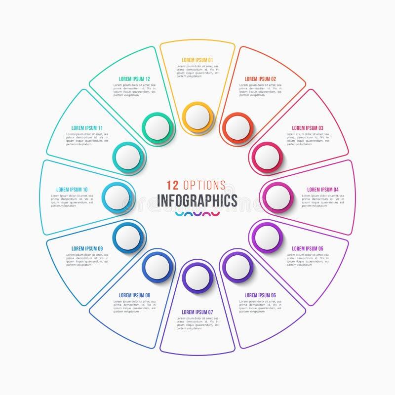 Vector 12 porções do projeto infographic, carta do círculo ilustração stock