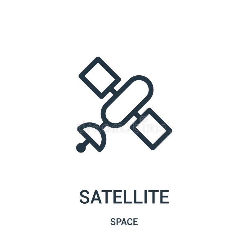vector por satélite del icono de la colección del espacio Línea fina ejemplo por satélite del vector del icono del esquema ilustración del vector