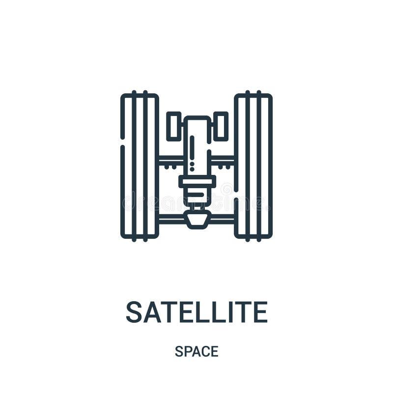 vector por satélite del icono de la colección del espacio Línea fina ejemplo por satélite del vector del icono del esquema stock de ilustración