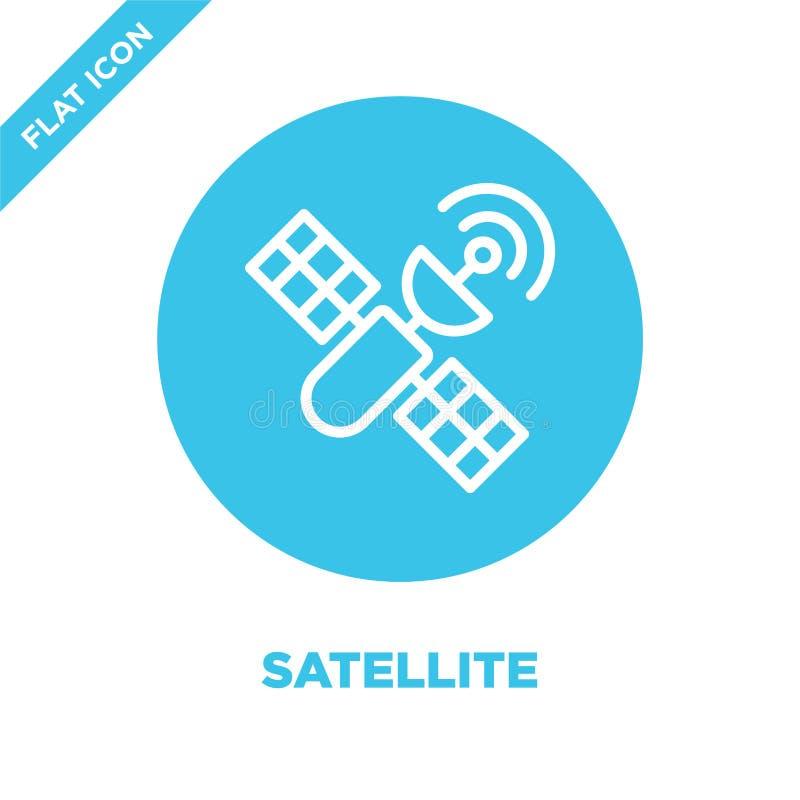 vector por satélite del icono de la colección militar Línea fina ejemplo por satélite del vector del icono del esquema Símbolo li ilustración del vector