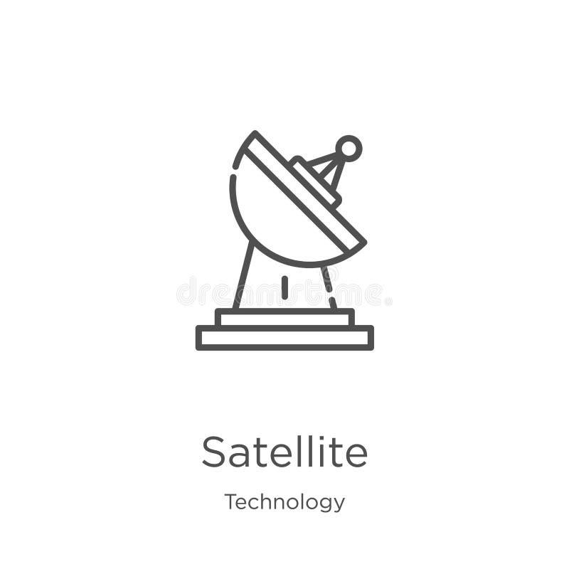 vector por satélite del icono de la colección de la tecnología L?nea fina ejemplo por sat?lite del vector del icono del esquema E stock de ilustración