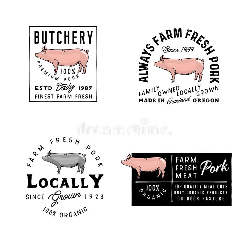 Vector Pork Logos, badges, labels, signs, emblems. Vintage style of badges. Retro simple style butchery emblems. Farm logo templates royalty free illustration