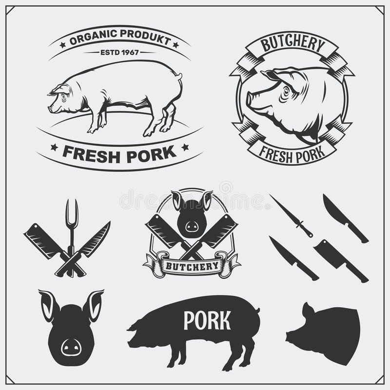Vector pork meat labels and design elements. Butcher`s business logos. Silhouettes of pig and cutlery. Black and white royalty free illustration