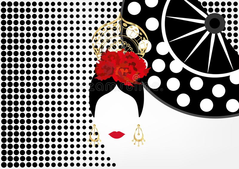 Vector Porträt des traditionellen Latein- oder Spanierintänzers, Dame mit Goldzubehör peineta, Ohrringen und roter Blume, FÄCHER lizenzfreie abbildung