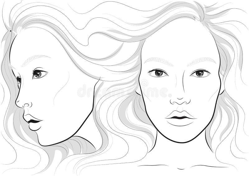 Vector Porträt eines Frau ` s Profils und des vollen Gesichtes mit dem langen schönen Haar, facechart, Gesichtsdiagramm für Make- vektor abbildung
