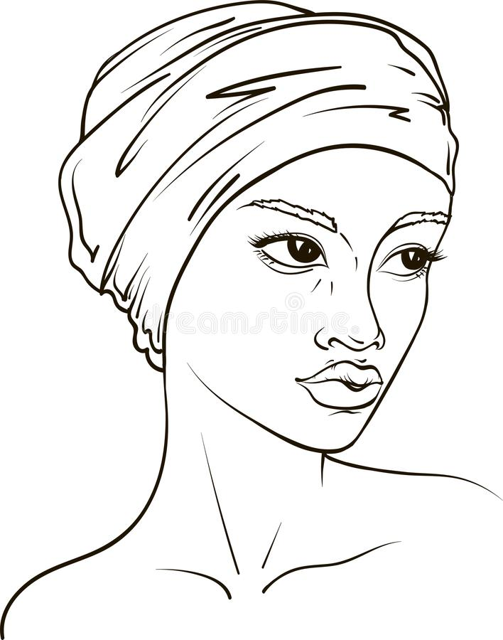 Vector portrait of African American woman in kerchief royalty free stock images