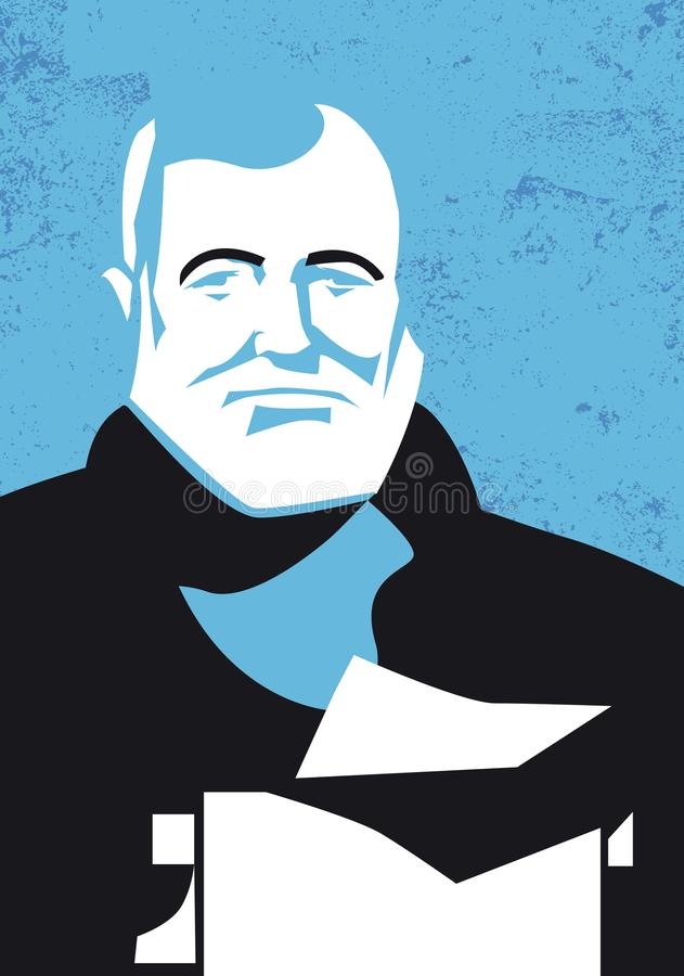 Vector portrait of american writer Ernest Hemingway stock illustration
