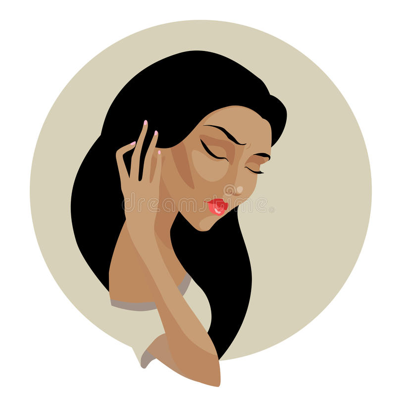 Vector portrait of beautiful deep in thought mulatto girl. Vector illustration. Beautiful deep in thought mulatto girl with long black hair stock illustration