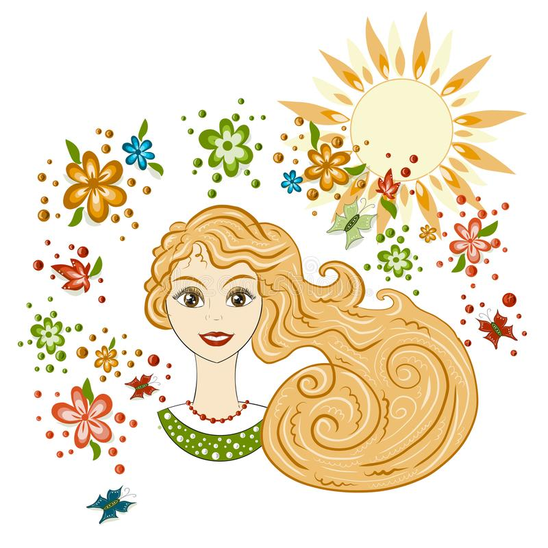 Vector, portrait of a beautiful girl, spring. Flowers and sun, postcard, flyer spring and summer theme vector illustration