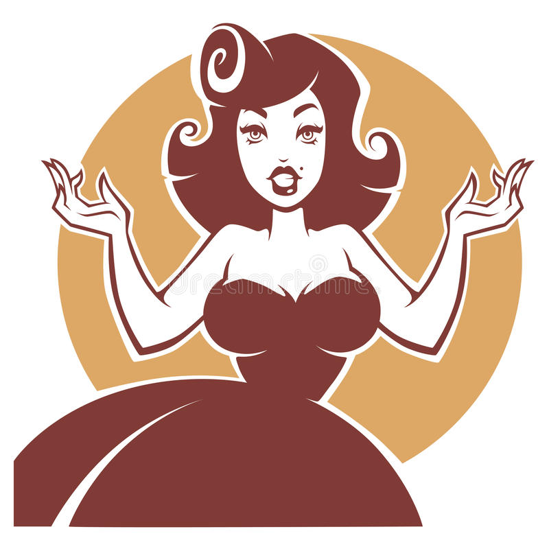 Vector portrait of beauty and surprised pin up lady royalty free illustration