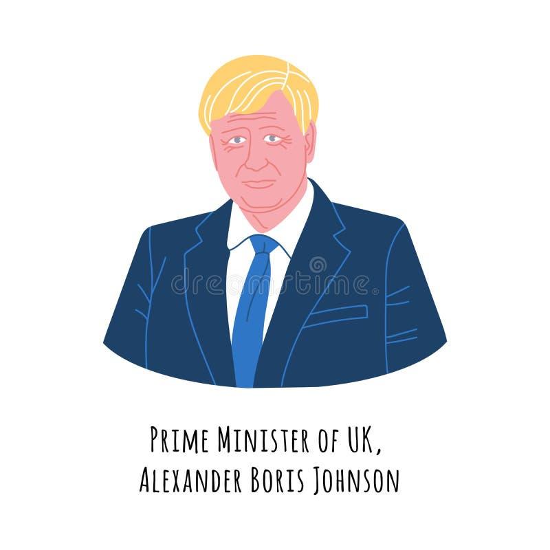 Vector portrait Boris Johnson royaltyfri illustrationer