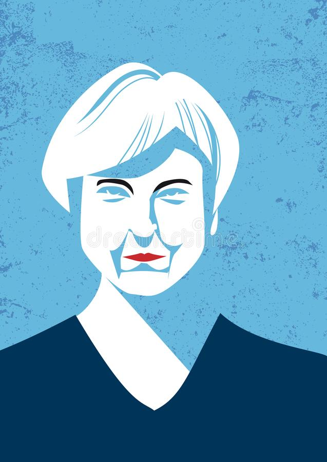 Vector portrait of British Prime Minister Teresa May royalty free illustration