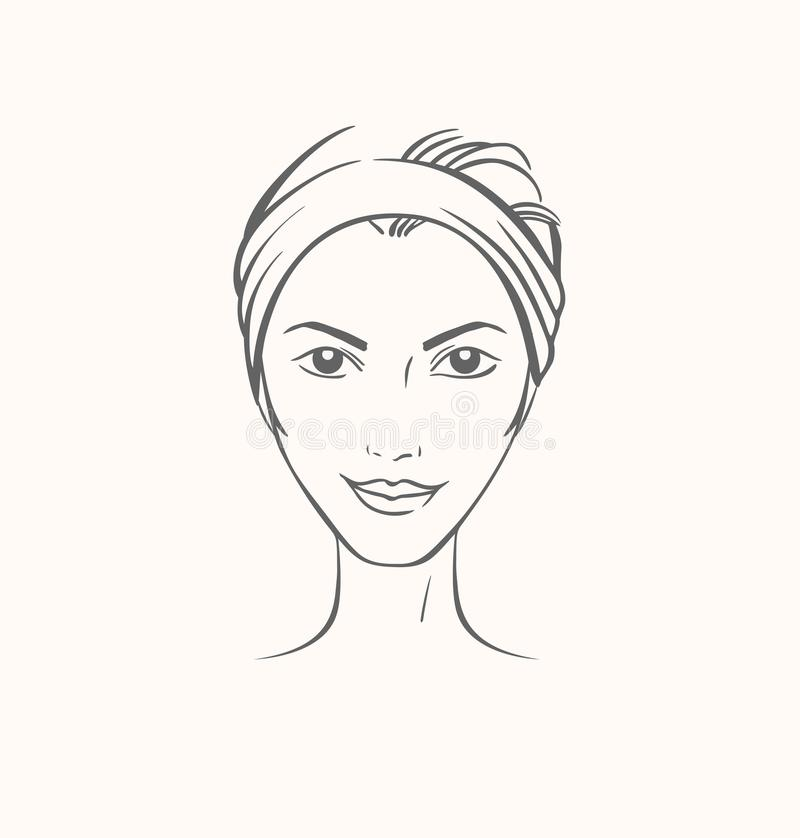 Vector portrait of caucasian woman in ink graphic style. Isolated image vector illustration