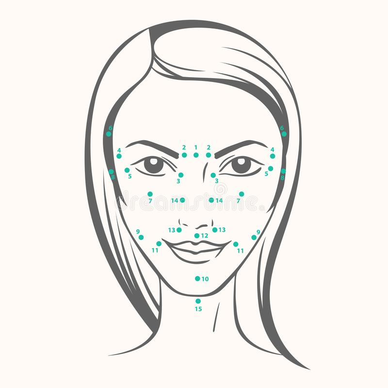 Vector portrait of caucasian woman with massage dots in ink graphic style.  stock illustration