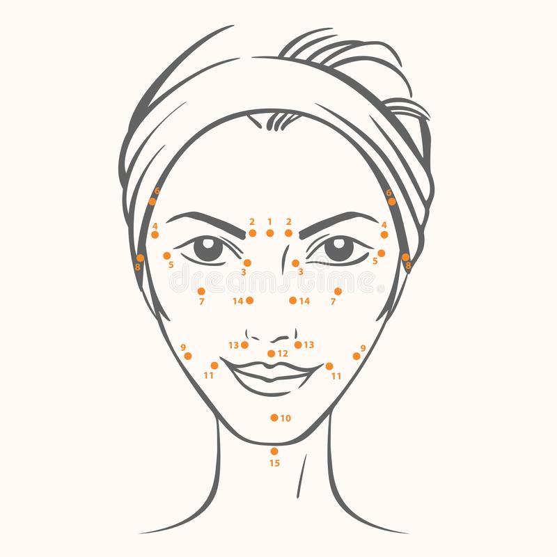 Vector portrait of caucasian woman with massage dots in ink graphic style.  vector illustration