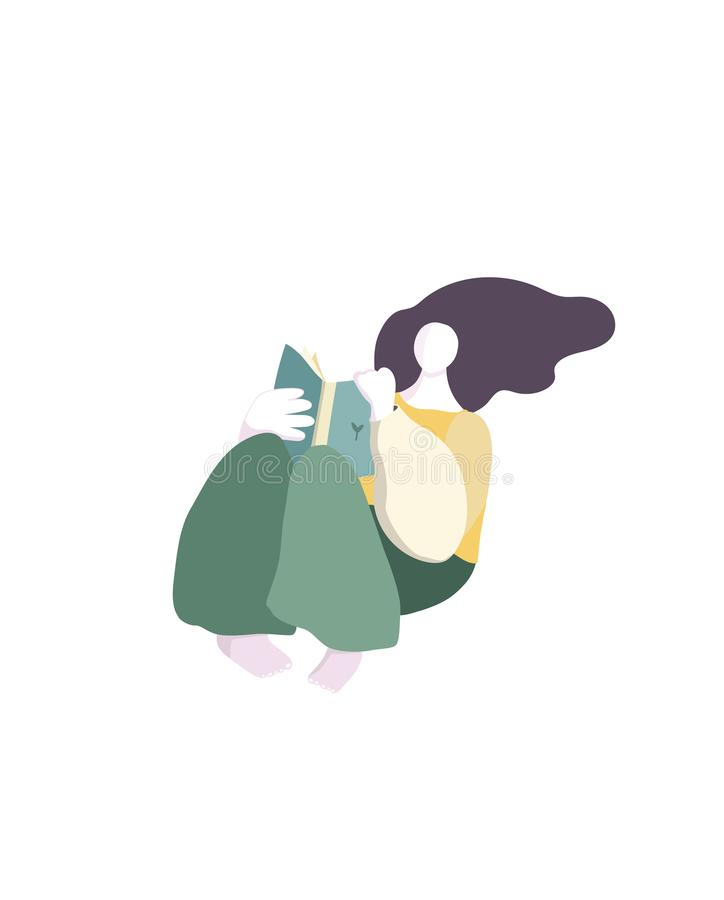 Vector portrait of cute brunette girl reading book. Beautiful woman in the modern design of realistic graphic paper. Student royalty free illustration