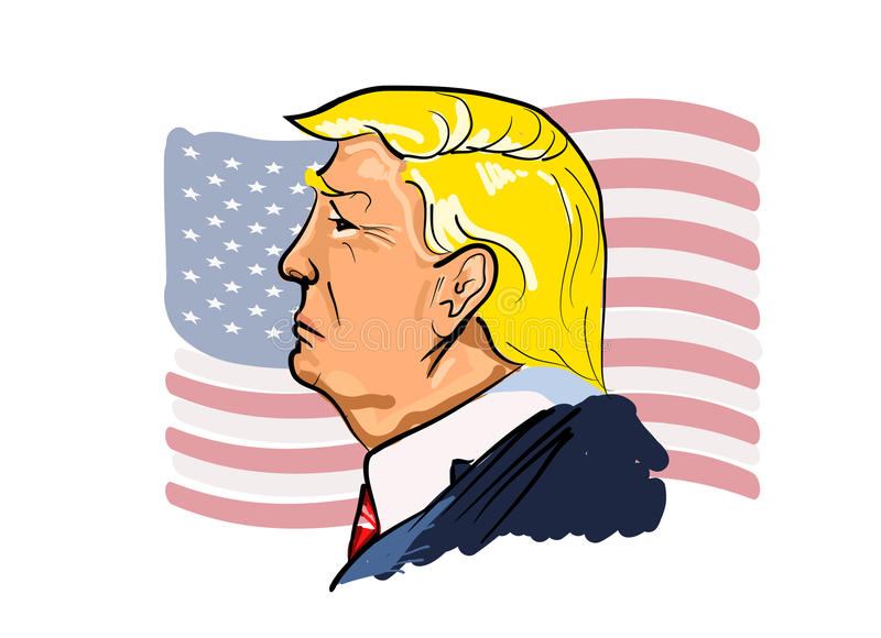 Vector portrait of Donald Trump. Vector color illustrated portrait of president Donald Trump with USA flag on the background .13 February, 2017. Donald Trump is stock illustration