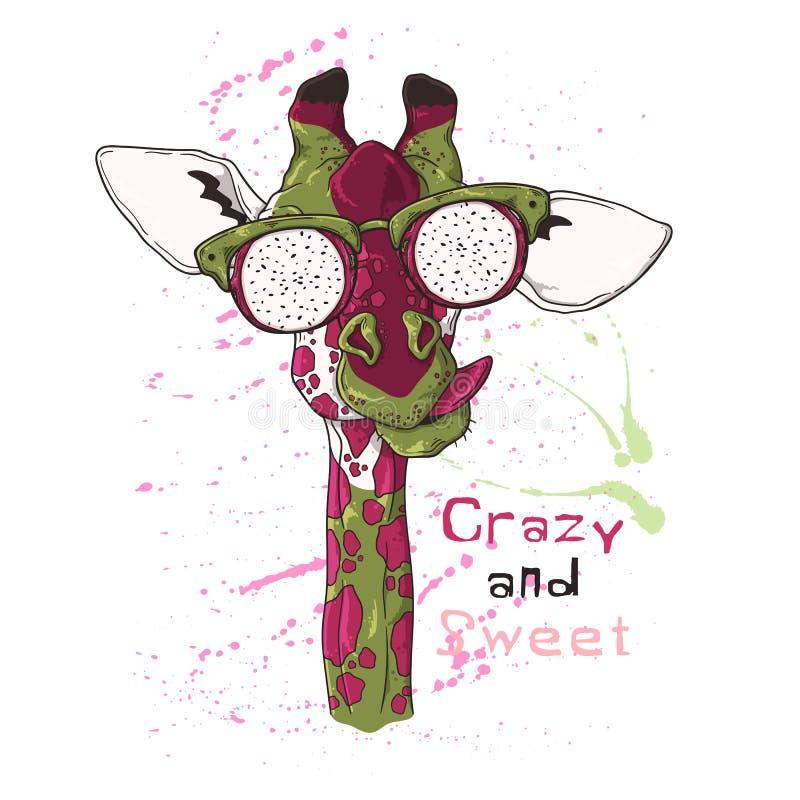 Vector. Portrait of giraffe in glasses under the effect of dragon fruit vector illustration