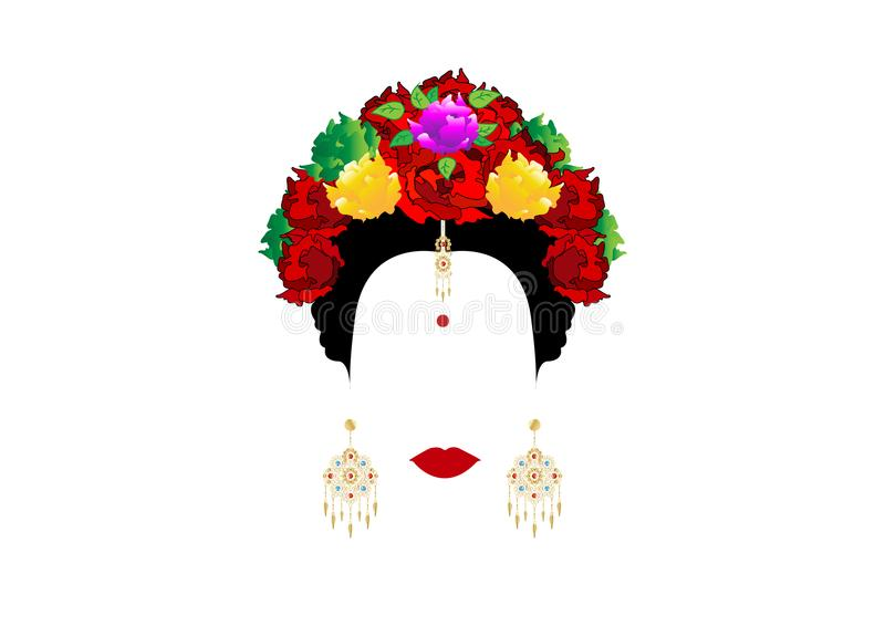 Vector portrait of an Indian woman with colorful flowers and traditional gold jewelry. Isolated or white stock illustration